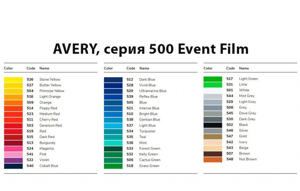 Пленка AVERY, серия 500 Event Film